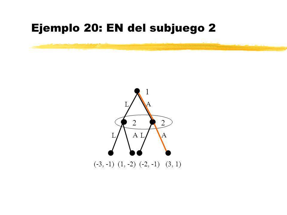 Ejemplo 20: EN del subjuego 2 (3, 1) 1 L A (-3, -1) 2 L A 2 L A (1, -2)(-2, -1)