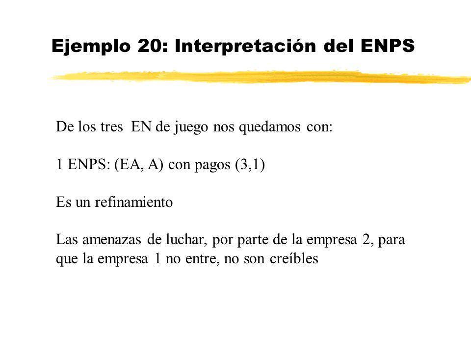 Ejemplo 20: Interpretación del ENPS De los tres EN de juego nos quedamos con: 1 ENPS: (EA, A) con pagos (3,1) Es un refinamiento Las amenazas de lucha
