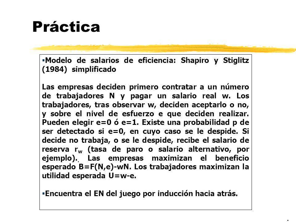 Práctica Modelo de salarios de eficiencia: Shapiro y Stiglitz (1984) simplificado Las empresas deciden primero contratar a un número de trabajadores N