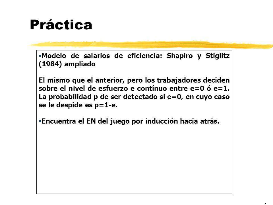 Práctica Modelo de salarios de eficiencia: Shapiro y Stiglitz (1984) ampliado El mismo que el anterior, pero los trabajadores deciden sobre el nivel d