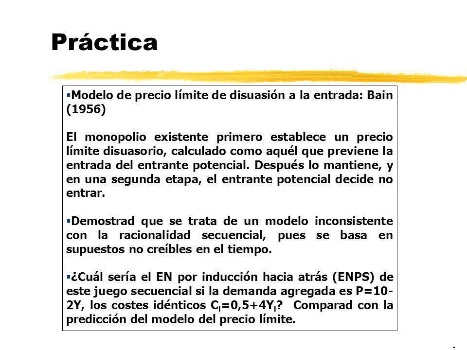 Práctica Modelo de precio límite de disuasión a la entrada: Bain (1956) El monopolio existente primero establece un precio límite disuasorio, calculad