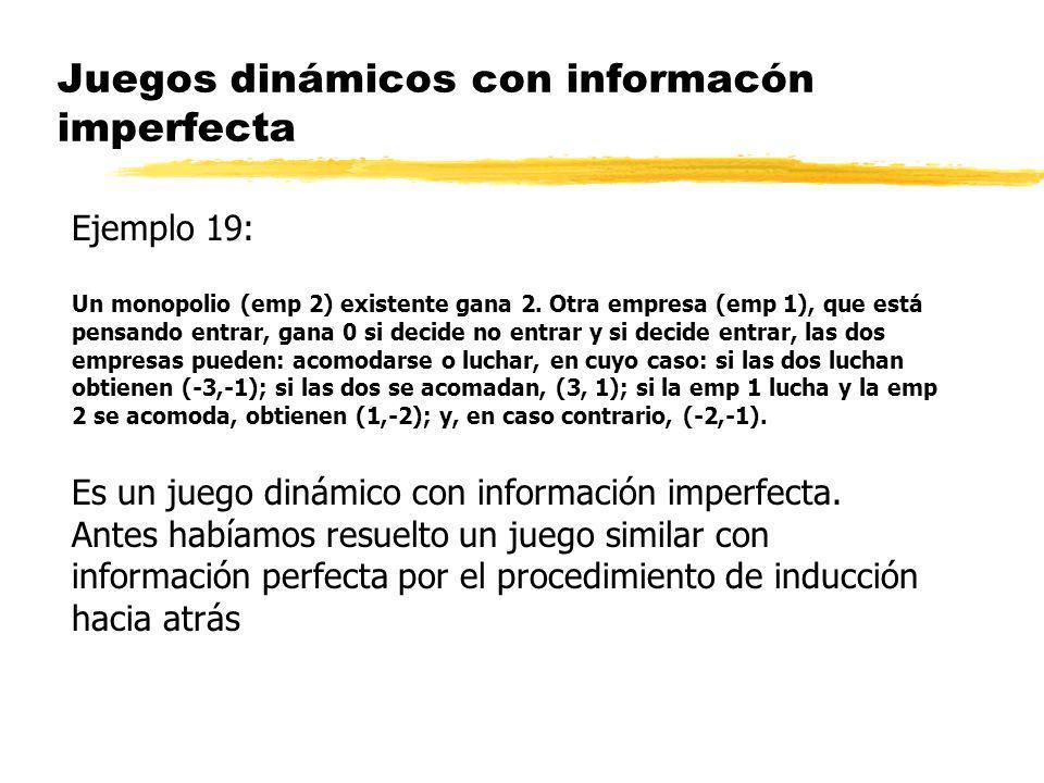 Juegos dinámicos con informacón imperfecta Ejemplo 19: Un monopolio (emp 2) existente gana 2. Otra empresa (emp 1), que está pensando entrar, gana 0 s
