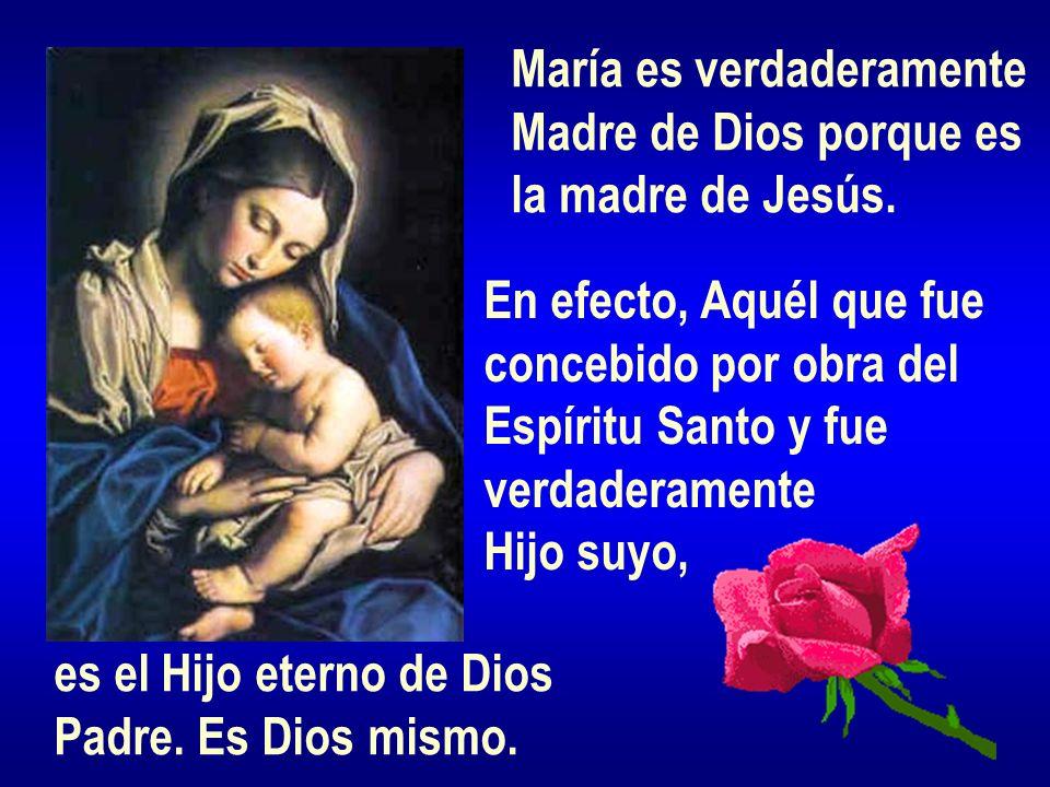María es verdaderamente Madre de Dios porque es la madre de Jesús. En efecto, Aquél que fue concebido por obra del Espíritu Santo y fue verdaderamente