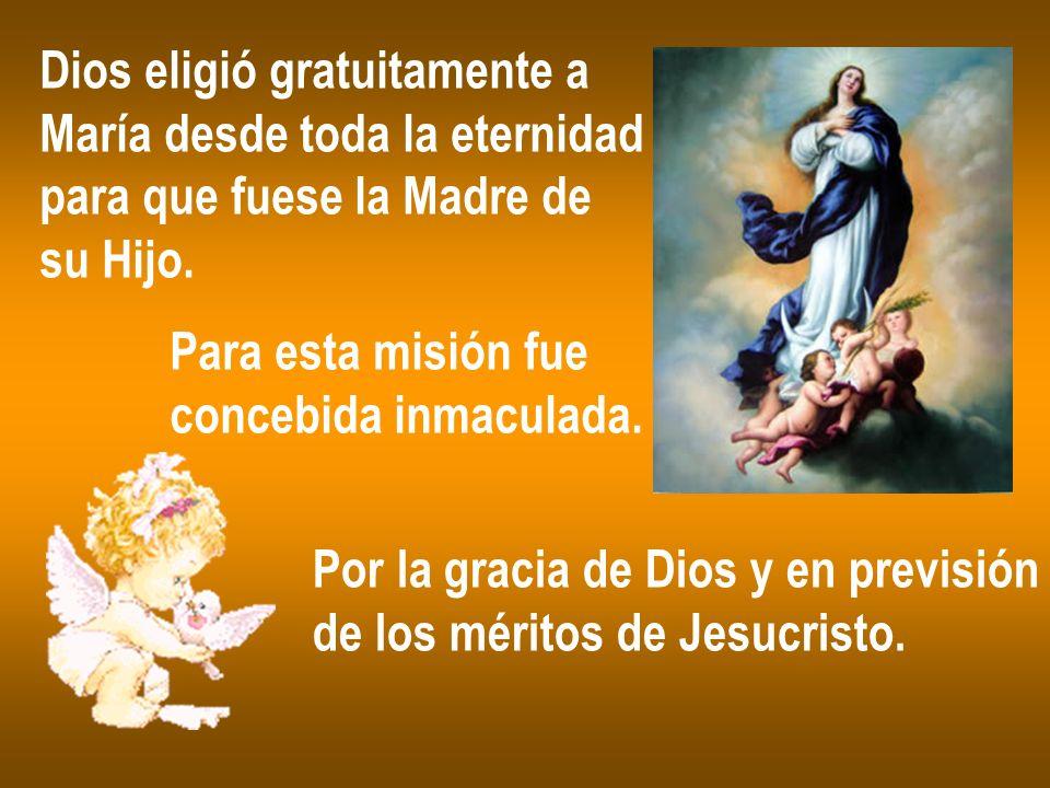Dios eligió gratuitamente a María desde toda la eternidad para que fuese la Madre de su Hijo. Para esta misión fue concebida inmaculada. Por la gracia
