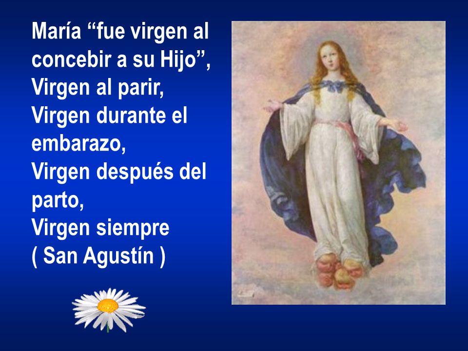 María fue virgen al concebir a su Hijo, Virgen al parir, Virgen durante el embarazo, Virgen después del parto, Virgen siempre ( San Agustín )