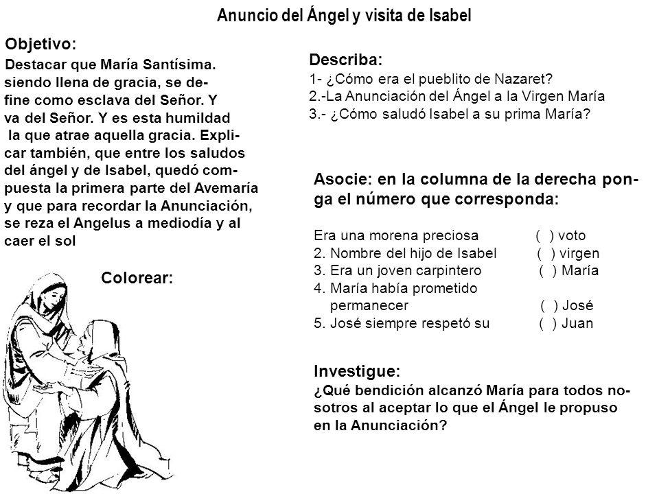 Anuncio del Ángel y visita de Isabel Objetivo: Destacar que María Santísima. siendo llena de gracia, se de- fine como esclava del Señor. Y va del Seño