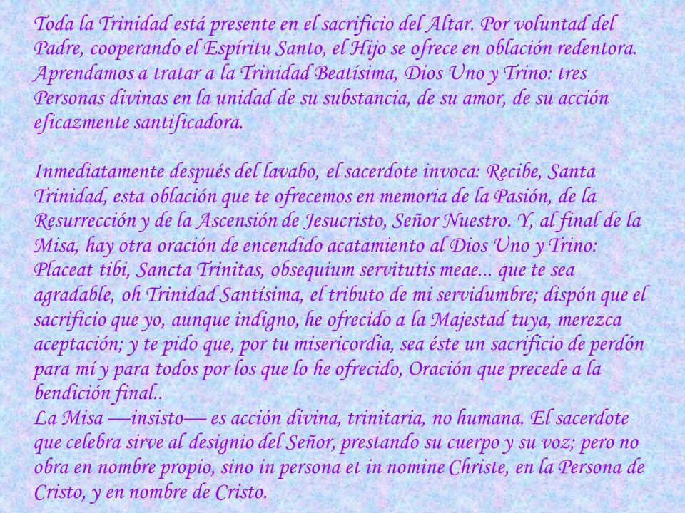 …Hablaba de corriente trinitaria de amor por los hombres. Y ¿dónde advertirla mejor que en la Misa? La Trinidad entera actúa en el santo sacrificio de