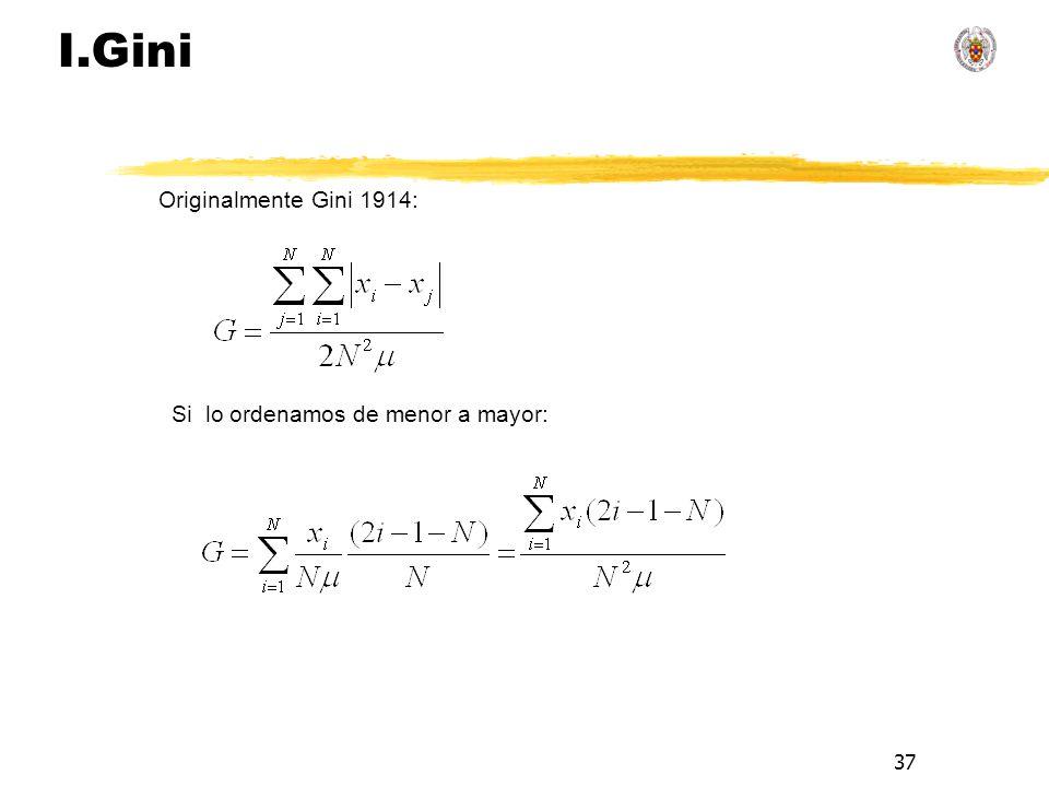 37 I.Gini Si lo ordenamos de menor a mayor: Originalmente Gini 1914: