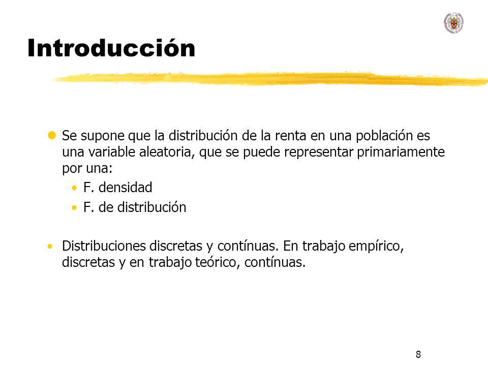 8 Introducción lSe supone que la distribución de la renta en una población es una variable aleatoria, que se puede representar primariamente por una: F.