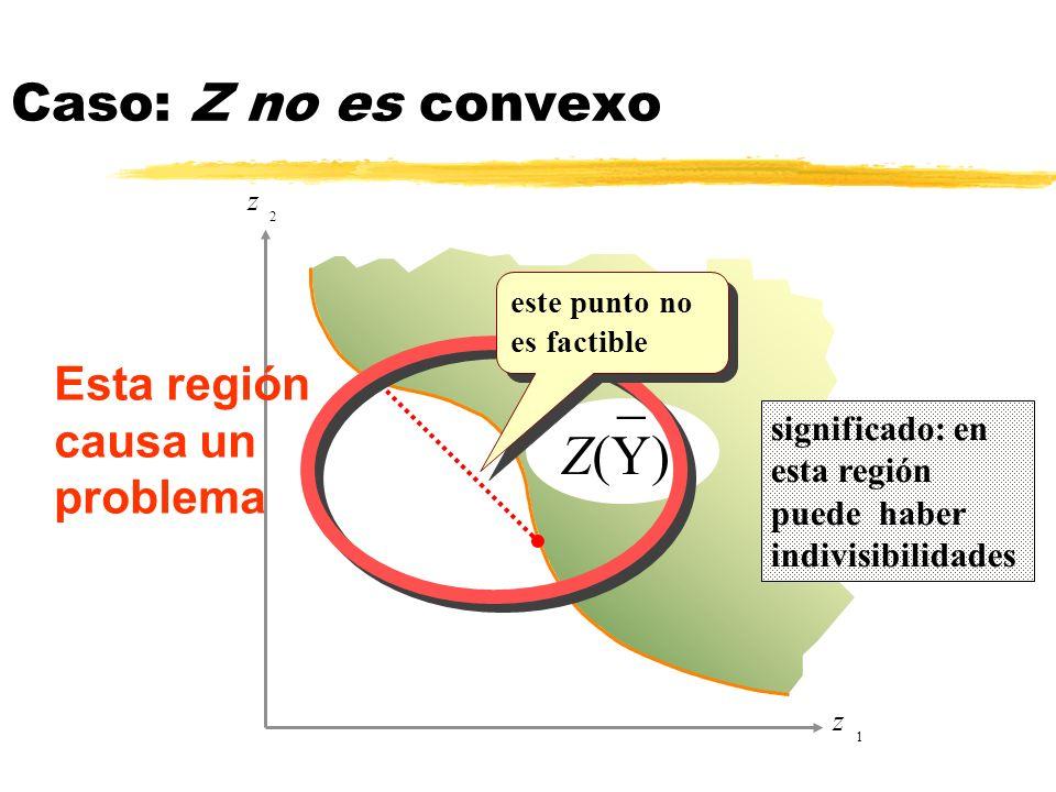 z 1 z 2 _ Z(Y) Esta región causa un problema significado: en esta región puede haber indivisibilidades Caso: Z no es convexo este punto no es factible