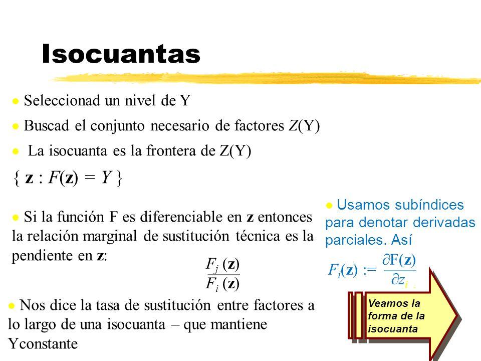 Isocuantas Seleccionad un nivel de Y Buscad el conjunto necesario de factores Z(Y) La isocuanta es la frontera de Z(Y) { z : F(z) = Y } Veamos la form