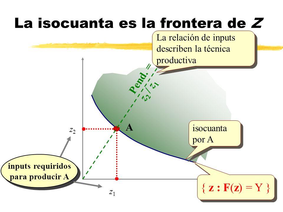 { z : F(z) = Y } A z1z1 inputs requiridos para producir A inputs requiridos para producir A z2z2 Pend. = z 2 / z 1 La isocuanta es la frontera de Z is
