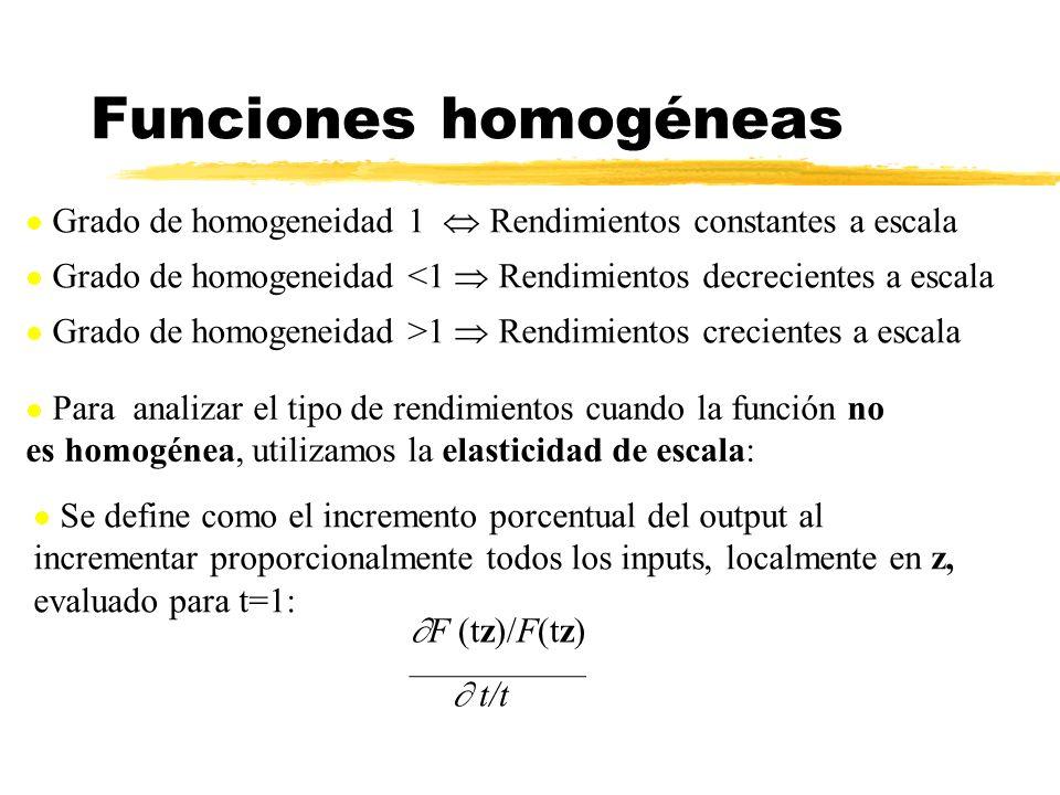 Funciones homogéneas Grado de homogeneidad 1 Rendimientos constantes a escala Grado de homogeneidad <1 Rendimientos decrecientes a escala Grado de hom