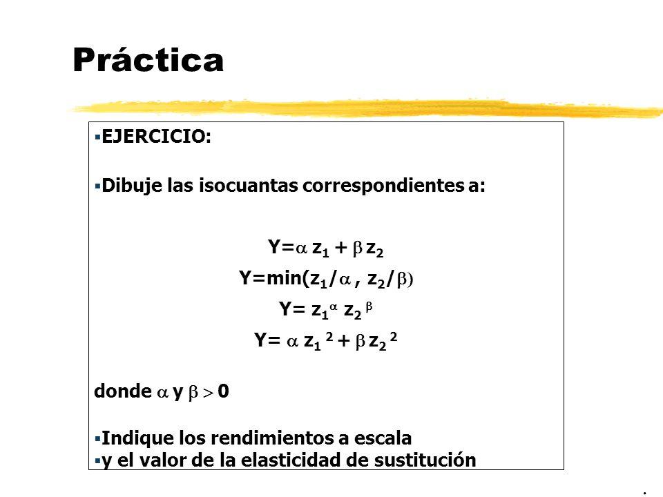 Práctica EJERCICIO: Dibuje las isocuantas correspondientes a: Y= z 1 + z 2 Y=min(z 1 /, z 2 / ) Y= z 1 z 2 Y= z 1 2 + z 2 2 donde y 0 Indique los rend