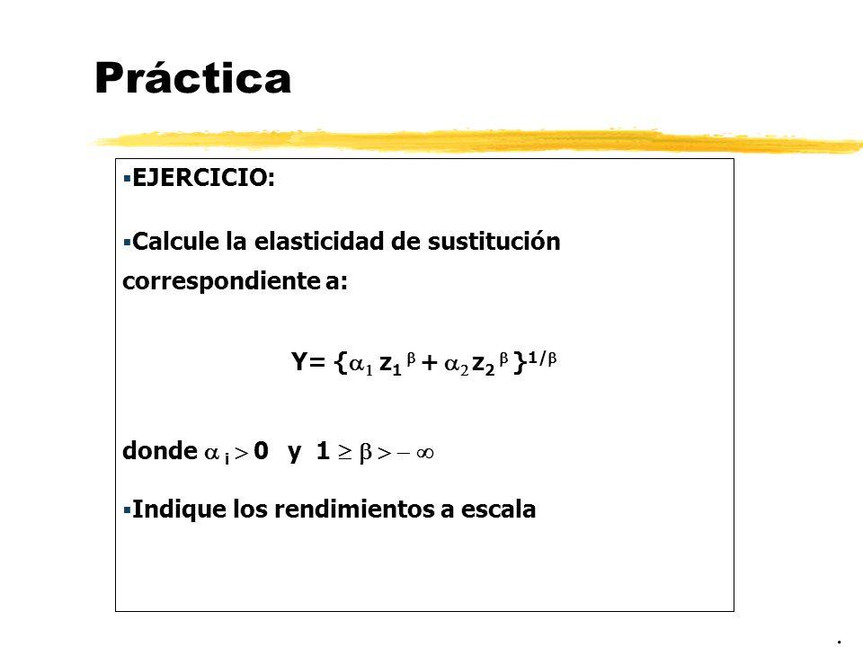 Práctica EJERCICIO: Calcule la elasticidad de sustitución correspondiente a: Y= { z 1 + z 2 } 1/ donde i 0 y 1 Indique los rendimientos a escala.
