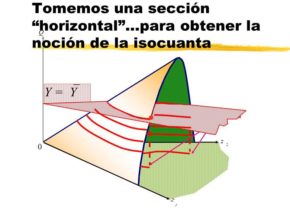 z 2 Q z 1 isocuanta Y = Y 0 Tomemos una sección horizontal...para obtener la noción de la isocuanta l