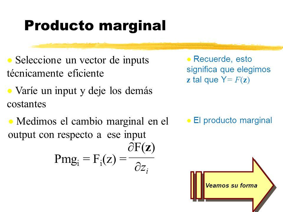 Medimos el cambio marginal en el output con respecto a ese input F(z) z i Pmg i = F i (z) = Producto marginal Seleccione un vector de inputs técnicame