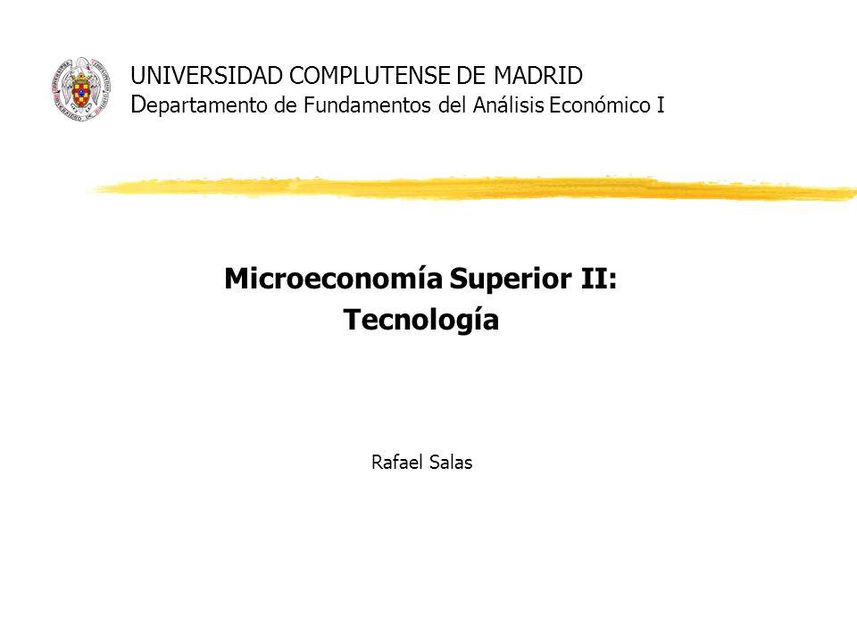 UNIVERSIDAD COMPLUTENSE DE MADRID D epartamento de Fundamentos del Análisis Económico I Microeconomía Superior II: Tecnología Rafael Salas