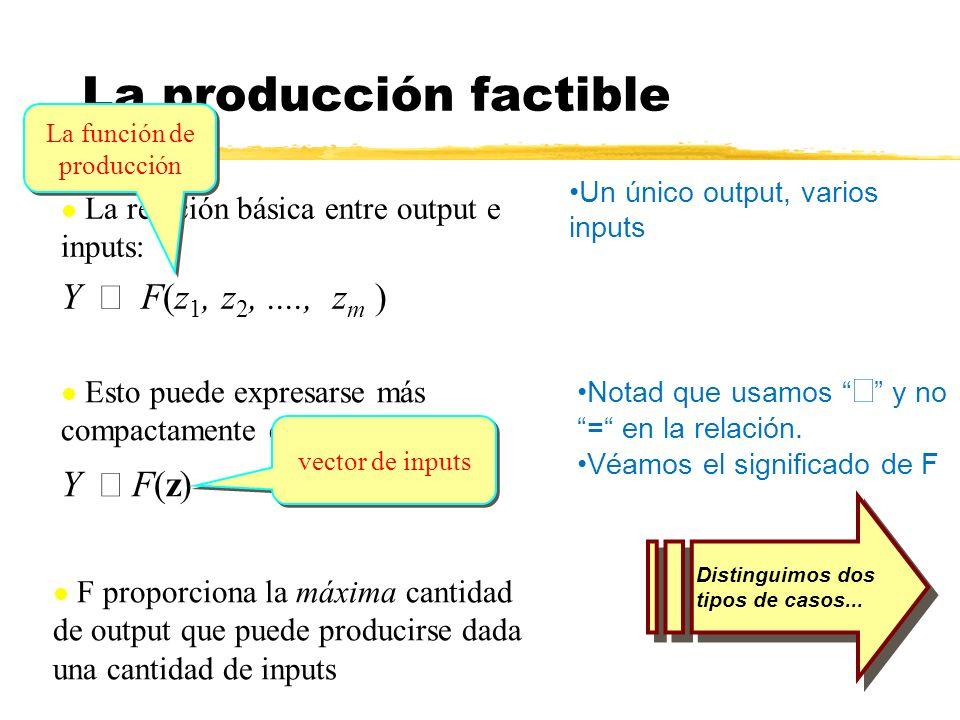 La relación básica entre output e inputs: Y F(z 1, z 2,...., z m ) Esto puede expresarse más compactamente como: Y F(z) La producción factible Un únic