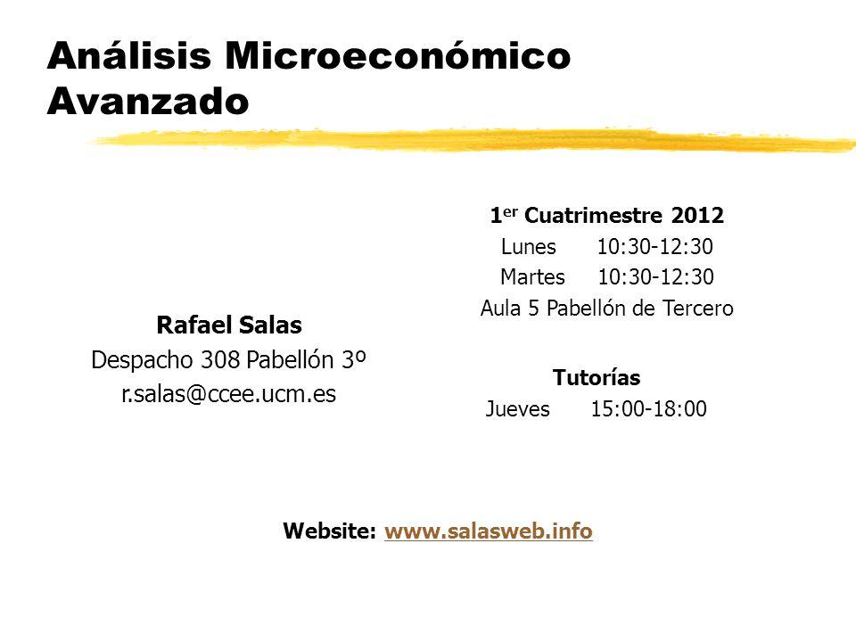 Análisis Microeconómico Avanzado 1 er Cuatrimestre 2012 Lunes 10:30-12:30 Martes 10:30-12:30 Aula 5 Pabellón de Tercero Rafael Salas Despacho 308 Pabe