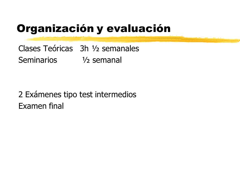 Organización y evaluación Clases Teóricas 3h ½ semanales Seminarios ½ semanal 2 Exámenes tipo test intermedios Examen final
