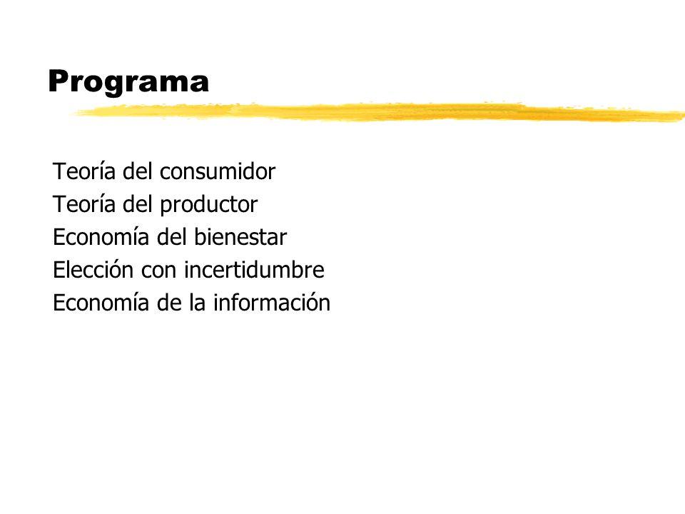 Programa Teoría del consumidor Teoría del productor Economía del bienestar Elección con incertidumbre Economía de la información
