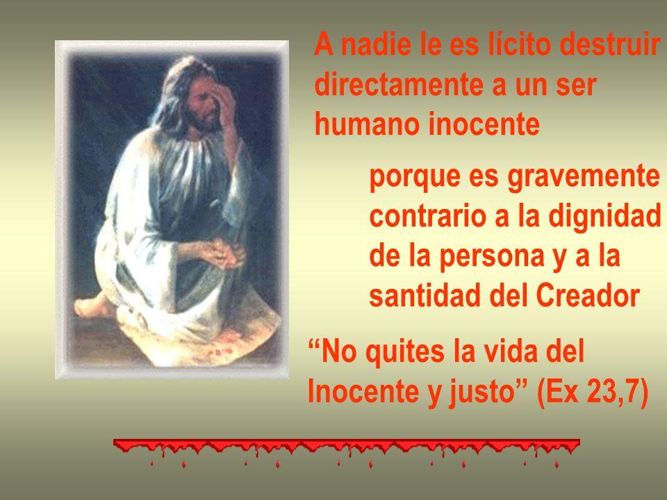 A nadie le es lícito destruir directamente a un ser humano inocente porque es gravemente contrario a la dignidad de la persona y a la santidad del Cre