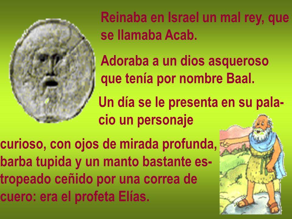 Reinaba en Israel un mal rey, que se llamaba Acab. Adoraba a un dios asqueroso que tenía por nombre Baal. curioso, con ojos de mirada profunda, barba