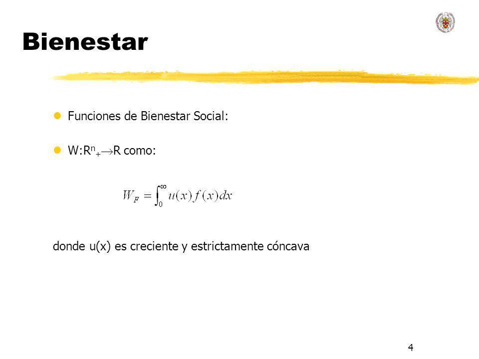 4 Bienestar lFunciones de Bienestar Social: lW:R n + R como: donde u(x) es creciente y estrictamente cóncava