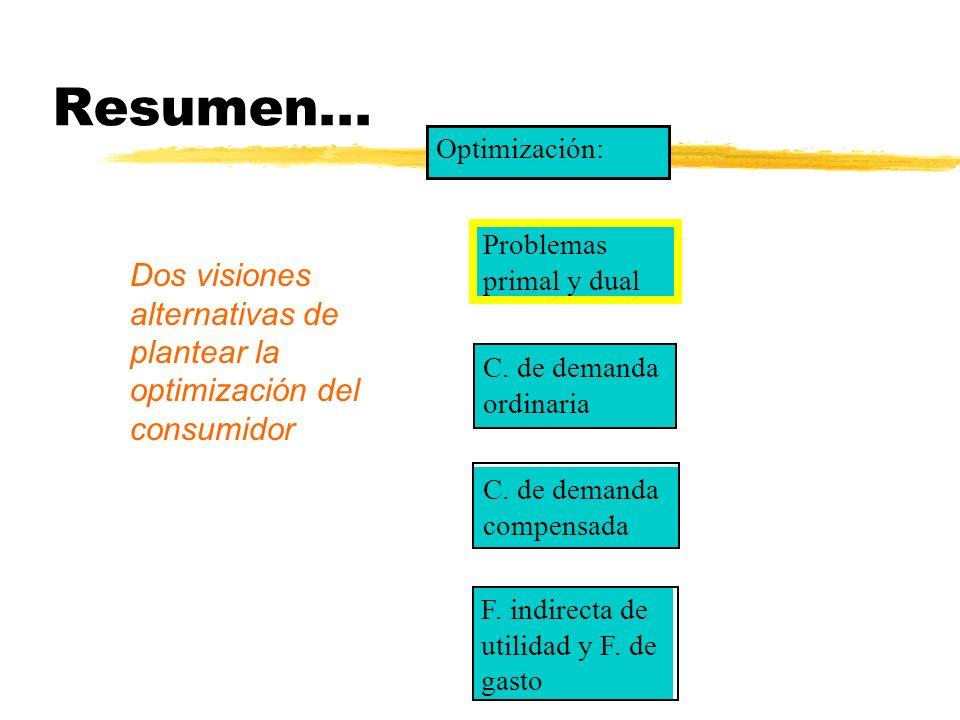 Resumen... Problemas primal y dual C. de demanda ordinaria C. de demanda compensada F. indirecta de utilidad y F. de gasto Optimización: Dos visiones