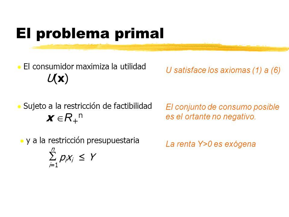 El problema primal El consumidor maximiza la utilidad U(x)U(x) U satisface los axiomas (1) a (6) Sujeto a la restricción de factibilidad x R + n y a l