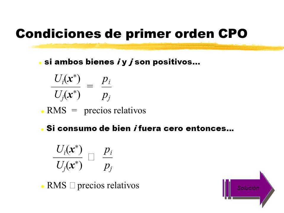 Condiciones de primer orden CPO U i (x ) p i = U j (x ) p j l RMS = precios relativos l si ambos bienes i y j son positivos... U i (x ) p i U j (x ) p