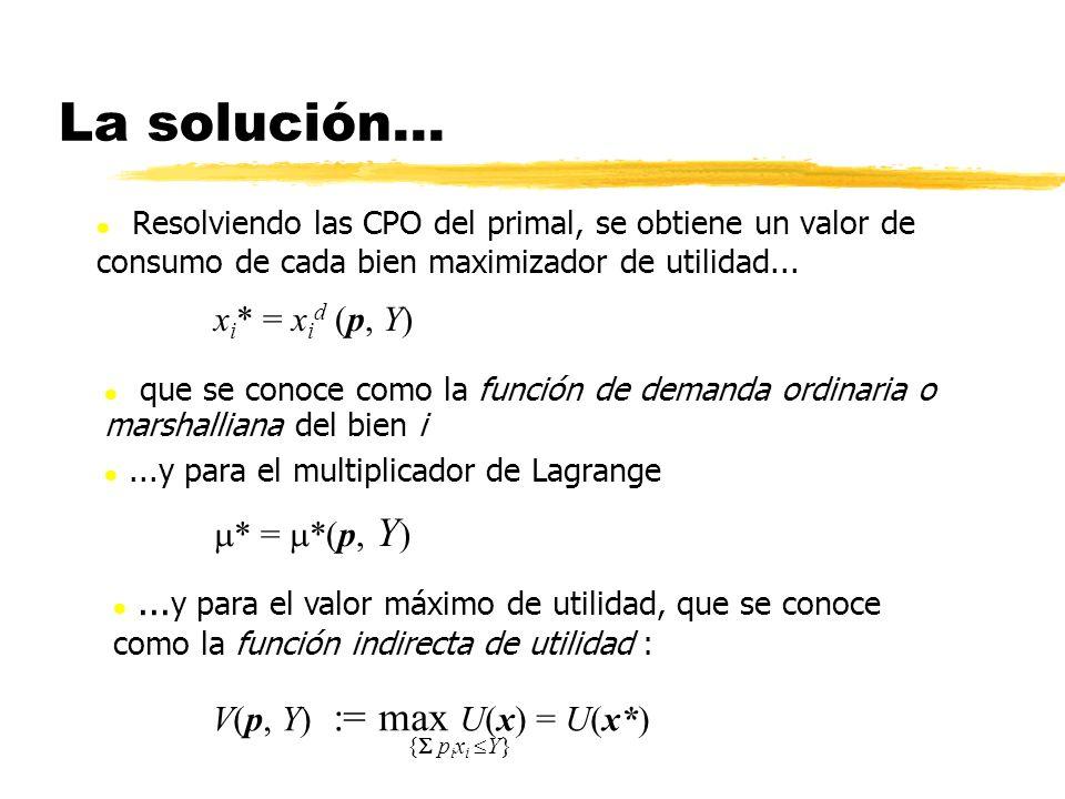 La solución... l Resolviendo las CPO del primal, se obtiene un valor de consumo de cada bien maximizador de utilidad... x i * = x i d (p, Y) * = *(p,