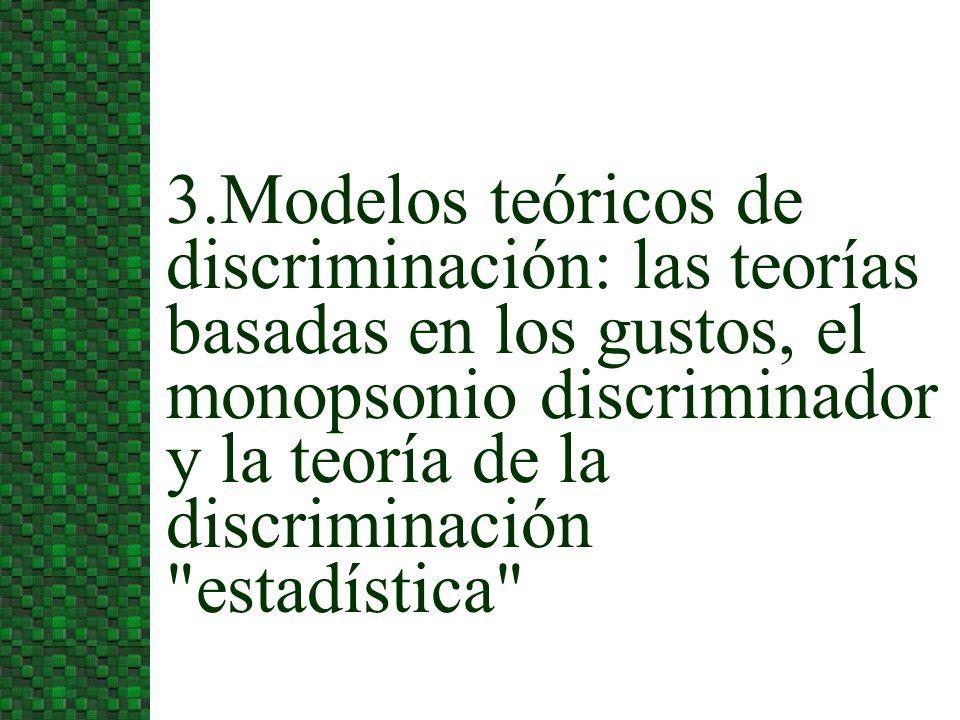 3.Modelos teóricos de discriminación: las teorías basadas en los gustos, el monopsonio discriminador y la teoría de la discriminación