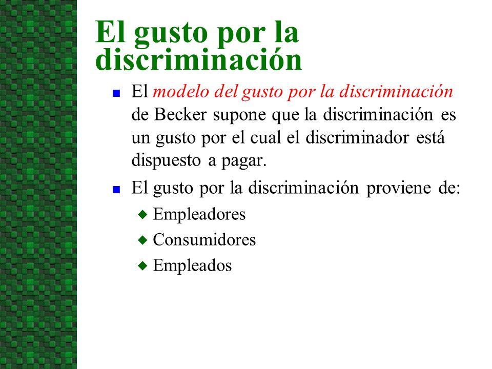 n El modelo del gusto por la discriminación de Becker supone que la discriminación es un gusto por el cual el discriminador está dispuesto a pagar. n