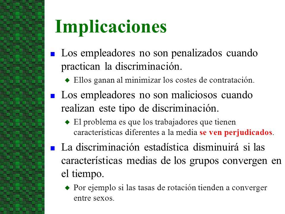 n Los empleadores no son penalizados cuando practican la discriminación. u Ellos ganan al minimizar los costes de contratación. n Los empleadores no s