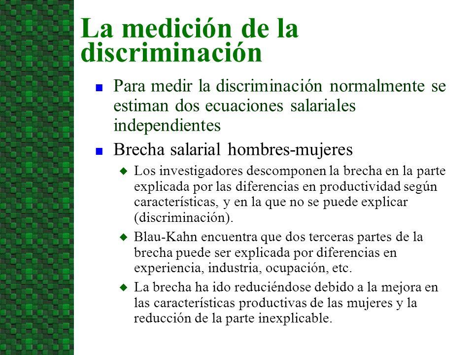 n Para medir la discriminación normalmente se estiman dos ecuaciones salariales independientes n Brecha salarial hombres-mujeres u Los investigadores