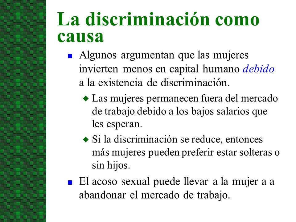 n Algunos argumentan que las mujeres invierten menos en capital humano debido a la existencia de discriminación. u Las mujeres permanecen fuera del me