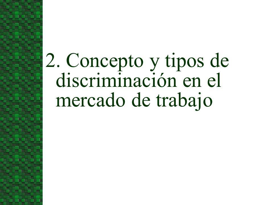 2. Concepto y tipos de discriminación en el mercado de trabajo