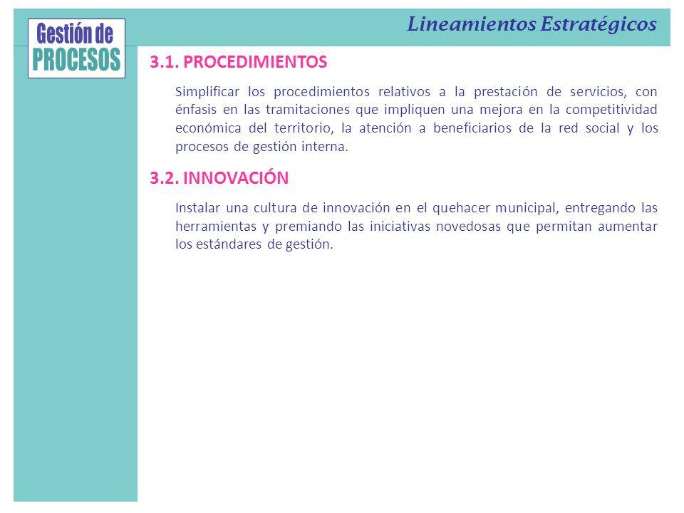 3.1. PROCEDIMIENTOS Simplificar los procedimientos relativos a la prestación de servicios, con énfasis en las tramitaciones que impliquen una mejora e