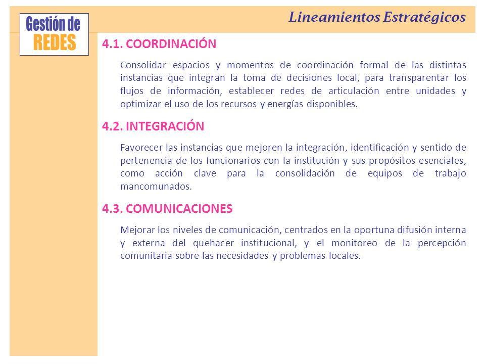 4.1. COORDINACIÓN Consolidar espacios y momentos de coordinación formal de las distintas instancias que integran la toma de decisiones local, para tra
