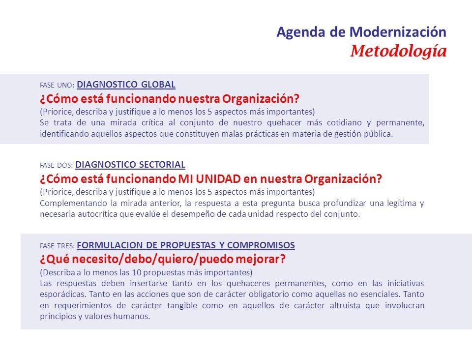 Agenda de Modernización Metodología FASE UNO: DIAGNOSTICO GLOBAL ¿Cómo está funcionando nuestra Organización? (Priorice, describa y justifique a lo me