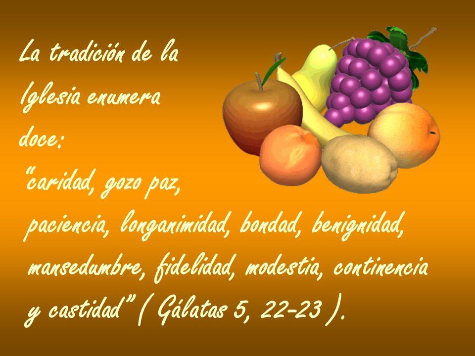 La tradición de la Iglesia enumera doce: caridad, gozo paz, paciencia, longanimidad, bondad, benignidad, mansedumbre, fidelidad, modestia, continencia