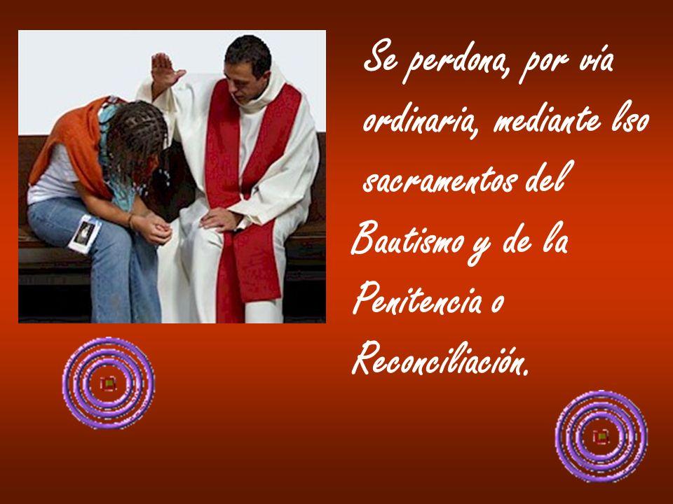 Se perdona, por vía ordinaria, mediante lso sacramentos del Bautismo y de la Penitencia o Reconciliación.