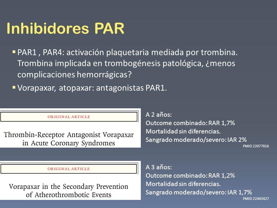 Inhibidores PAR PAR1, PAR4: activación plaquetaria mediada por trombina. Trombina implicada en trombogénesis patológica, ¿menos complicaciones hemorrá