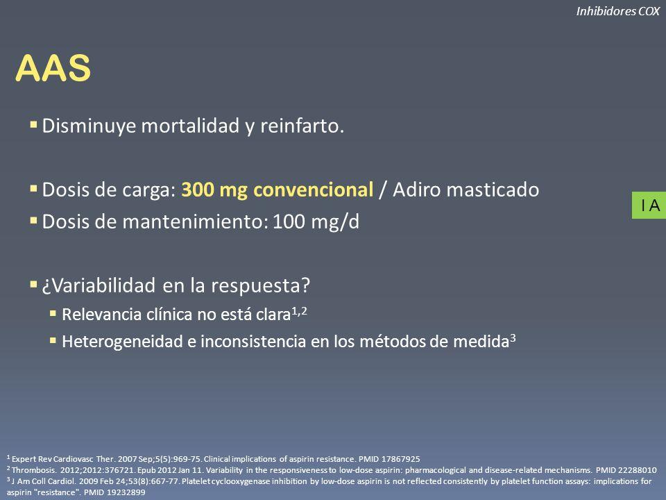 AAS Disminuye mortalidad y reinfarto. Dosis de carga: 300 mg convencional / Adiro masticado Dosis de mantenimiento: 100 mg/d ¿Variabilidad en la respu