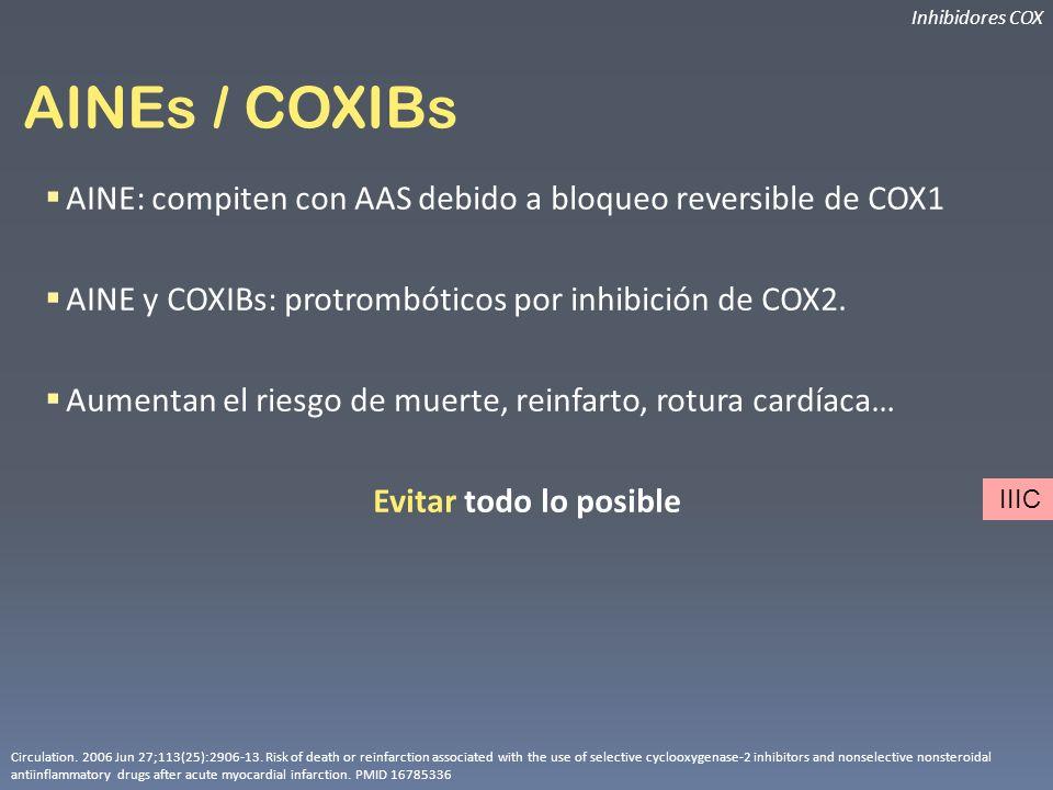 AINEs / COXIBs AINE: compiten con AAS debido a bloqueo reversible de COX1 AINE y COXIBs: protrombóticos por inhibición de COX2. Aumentan el riesgo de