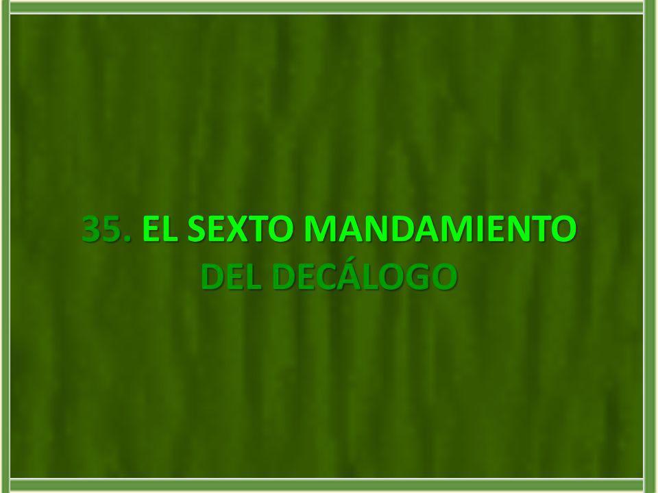 35.EL SEXTO MANDAMIENTO DEL DECÁLOGO 35. EL SEXTO MANDAMIENTO DEL DECÁLOGO