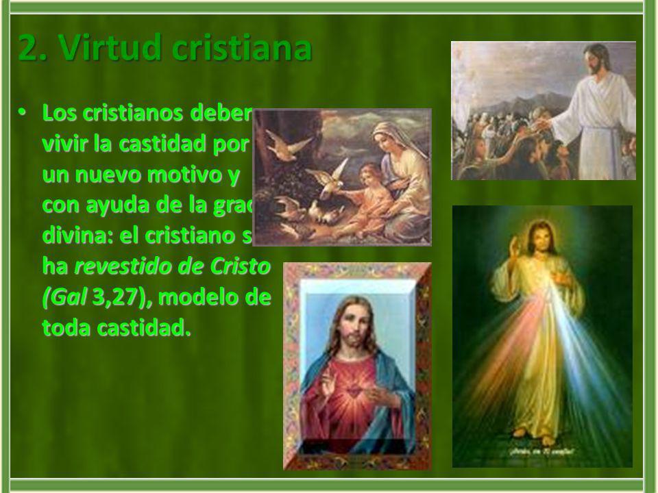 2. Virtud cristiana Los cristianos deben vivir la castidad por un nuevo motivo y con ayuda de la gracia divina: el cristiano se ha revestido de Cristo