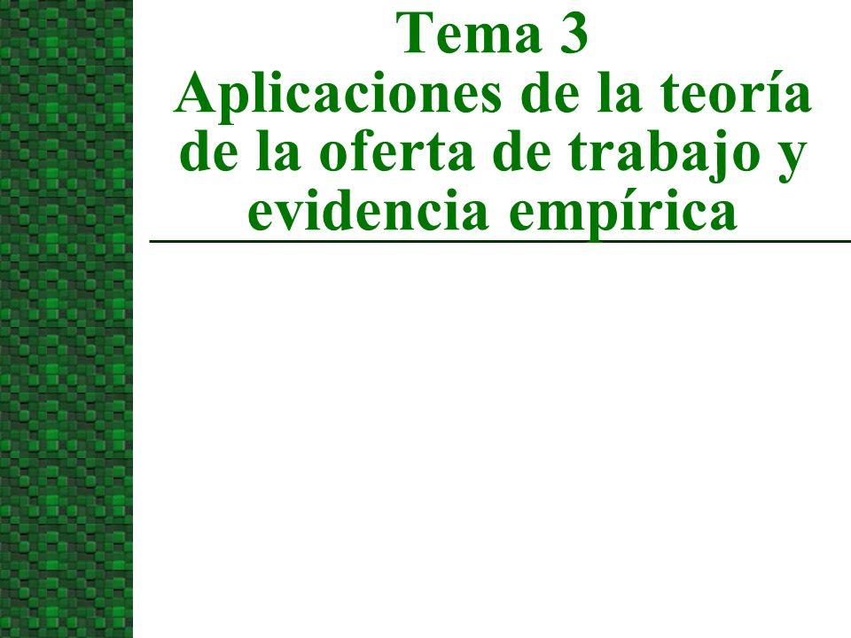 Tema 3 Aplicaciones de la teoría de la oferta de trabajo y evidencia empírica